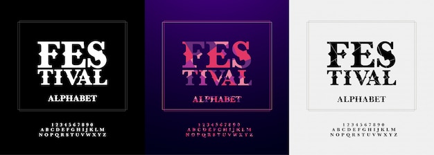 Festival modern alphabet and number font set