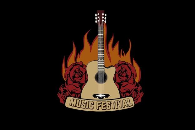 炎のあるフェスティバルミュージックタイポグラフィtシャツのデザイン