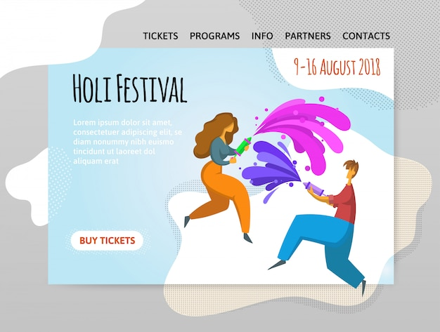 Фестиваль красок холи. счастливый мальчик и девочка бросают краску. иллюстрирование, шаблон сайта, шапка, баннер или плакат.