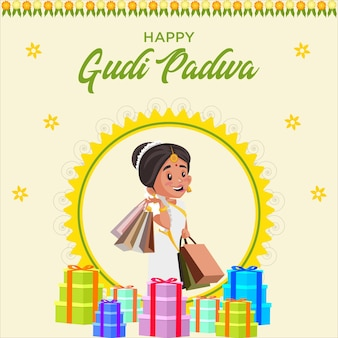 Gudi padwa 인도 새해 배너 템플릿 축제