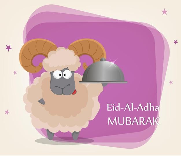 희생 축제 eid aladha. 전통적인 모슬린 휴가