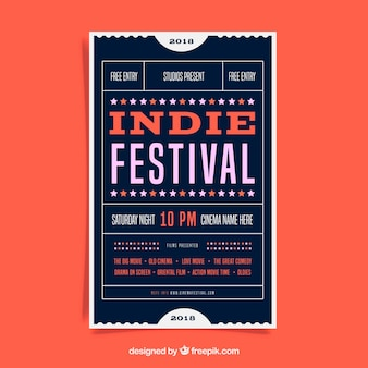 Festival poster in flat style
