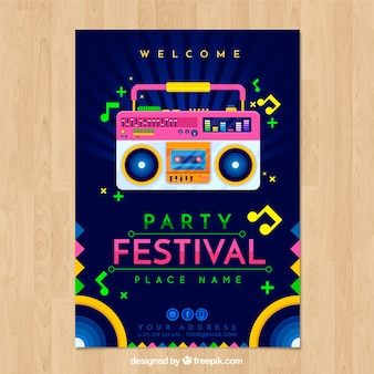 Festival poster template with radio cassette player