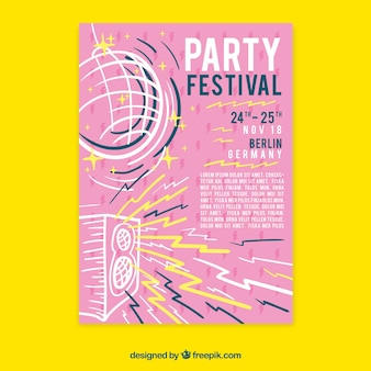 Festival poster templatewith hand drawn style