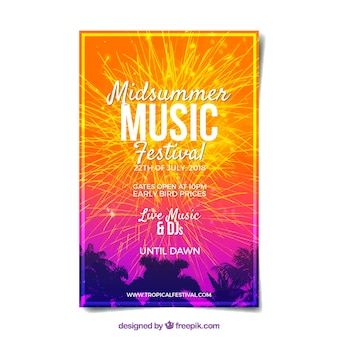 Festival poster with fireworks