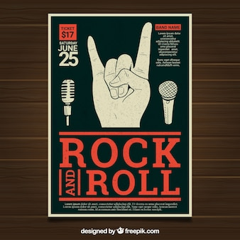 Festival poster with hand and microphones