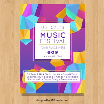 Festival poster with polygonal shapes