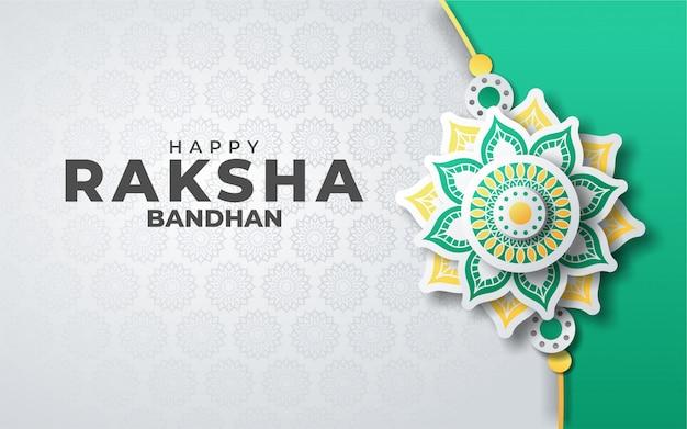 Festival of raksha bandhan greeting card in paper style