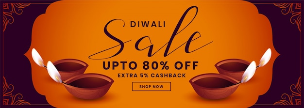 Festival sale banner for happy diwali