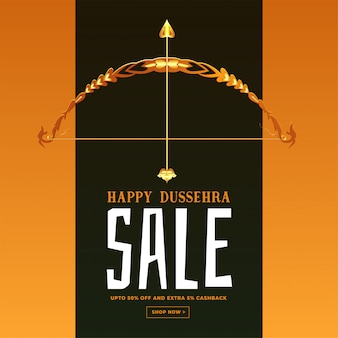 Festival sale banner for happy dussehra card