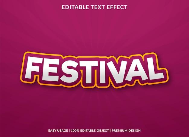 Festival text effect editable template premium vector