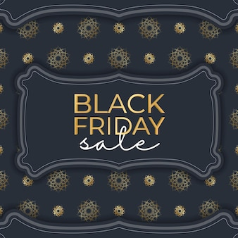 Festive advertising for black friday sales dark blue with geometric gold ornament