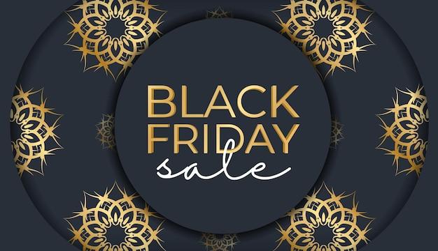 Festive advertising for black friday sales dark blue with greek golden ornament
