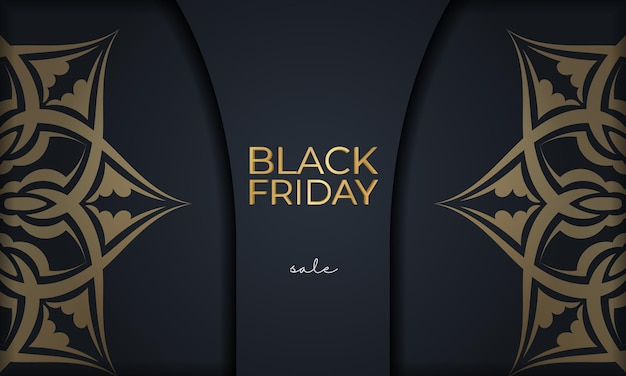 Festive advertising for black friday sales dark blue with luxurious golden ornament