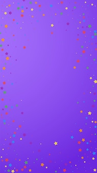 축제 살아있는 색종이. 축하 별. 보라색 바탕에 즐거운 별입니다. 유리한 축제 오버레이 템플릿입니다. 수직 벡터 배경입니다.