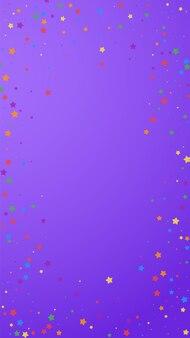 Festive alive confetti. celebration stars. joyous stars on violet background. favorable festive overlay template. vertical vector background.