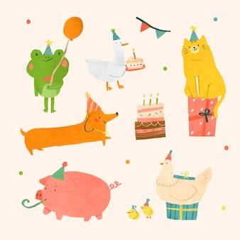 Festive animals doodle element set
