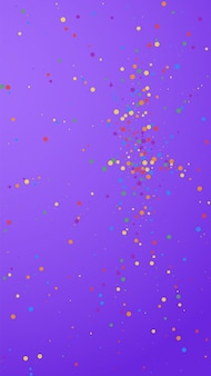 Festive appealing confetti. celebration stars. colorful confetti on violet background. flawless festive overlay template. vertical vector background.