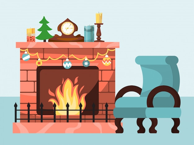 Festive atmosphere, christmas winter mood by burning fire in fireplace, flat design illustration isolated on white.