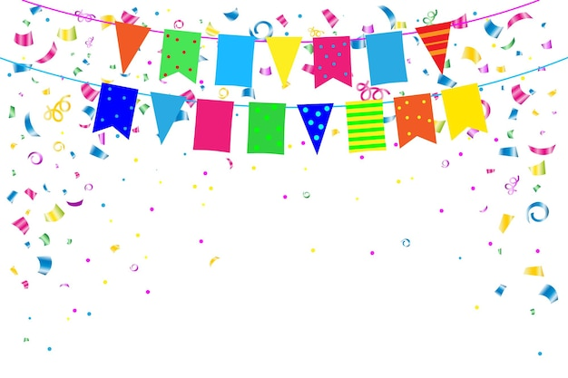 Festive background banner with colored confetti flags and streamers