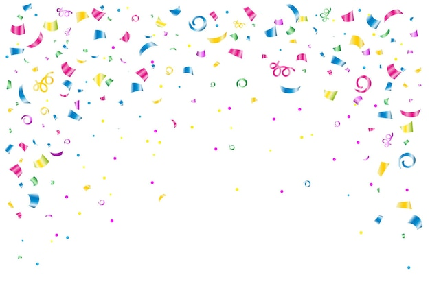 Festive background banner with colored confetti and streamers on a black or white background