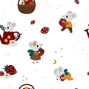 Festive background for kids with cute mouse on garden seamless pattern with baby animals