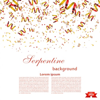 Festive background template with bright red serpentine. festival. vector illustration