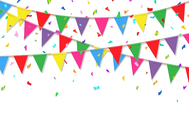 Festive background with colorful confetti and flag