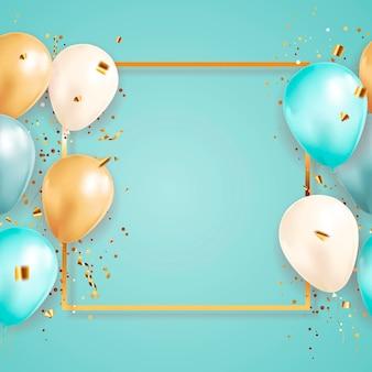 Праздничный фон с конфетти и воздушными шарами и золотой рамкой
