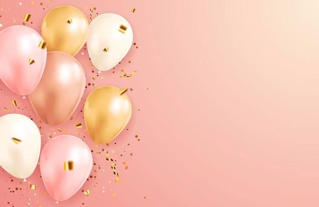 Праздничный фон с конфетти и воздушными шарами