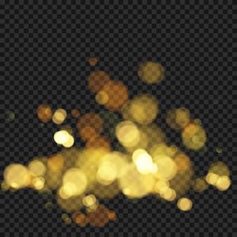 焦点がぼけたライトでお祝いの背景。ボケの効果。あなたのデザインのためのクリスマスの輝く暖かい金色のキラキラ要素。図