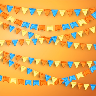 깃발의 garlands와 축제 배경