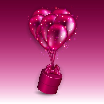 Festive background with gift box and balloons