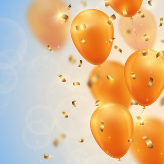 Festive background with gold balloons and confetti.