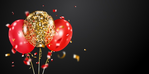 金色と赤の気球と曲がりくねった光沢のある部分でお祝いの背景。ポスター、チラシ、カードのベクトルイラスト。