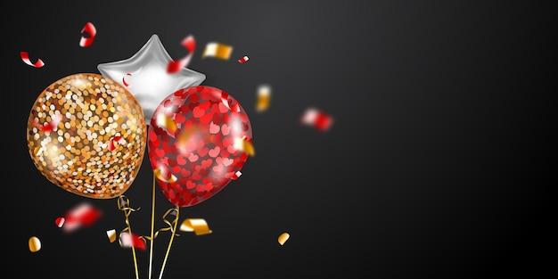 금색, 빨간색, 은색 공기 풍선과 반짝이는 뱀 조각이 있는 축제 배경. 포스터, 전단지 또는 카드에 대 한 벡터 일러스트 레이 션.