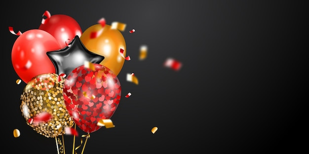 Festive background with golden, red and silver air balloons and shiny pieces of serpentine.