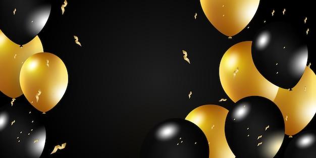 ヘリウム風船でお祝いの背景誕生日を祝うポスターバナーハッピーアニバーサリーリアリスト...