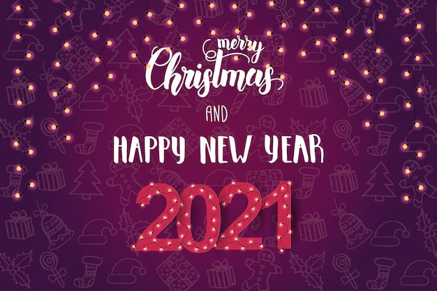 Festive background with light bulbs and hand made lettering  phrase happy new year