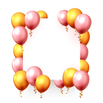 Festive balloon in an empty frame, color golden and pink. vector illustration