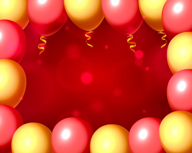 Festive balloon in an empty frame, color red and yellow. vector illustration