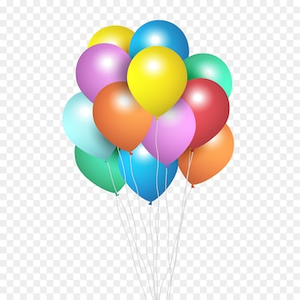 Festive balloons, group of colour helium balloons isolated on transparent