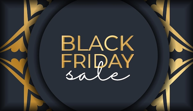 Festive banner for black friday sales dark blue with an old gold pattern