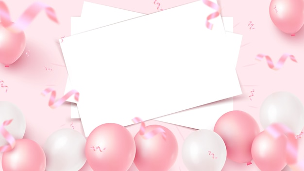 Festive banner design with white sheets, pink and white air balloons, falling foil confetti on rosy background. women's day, mother's day, birthday, anniversary, wedding template.   illustration