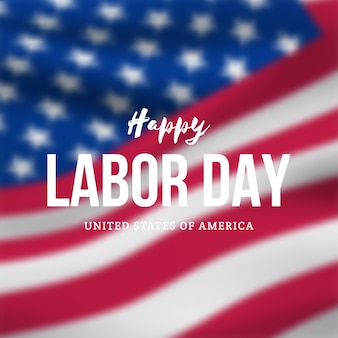 Festive banner for labor day against the background of  blurred usa flag