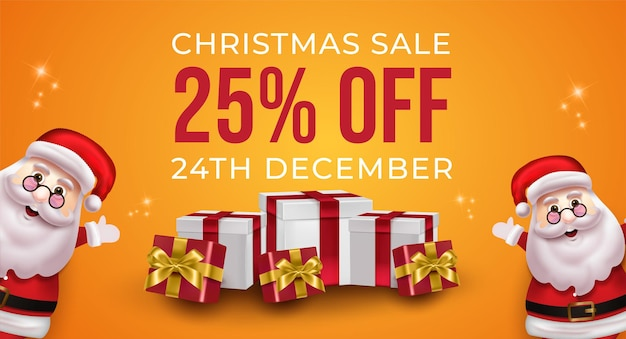 Festive banner promotion for christmas sale on yellow background