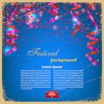 Festive banner template with confetti and serpentine on a blue vintage background. vector illustration.