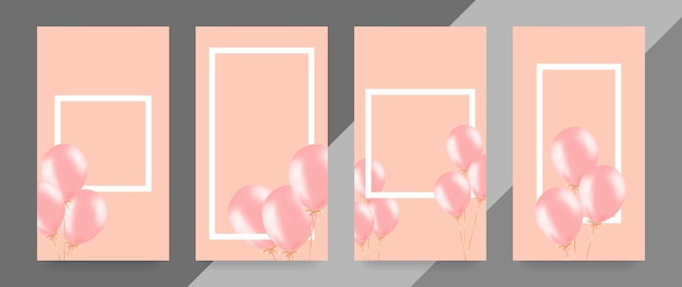 Festive banner with pink helium balloons.
