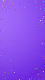 お祝いの美しい紙吹雪。お祝いの星。紫の背景に明るい紙吹雪。魅力的なお祝いオーバーレイテンプレート。垂直ベクトルの背景。