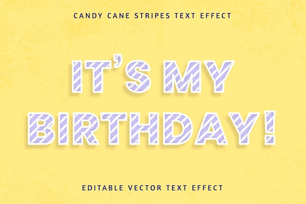 Festive birthday candy cane editable text effect
